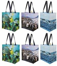 Reusable Grocery Bags Shopping Totes with National Geographic Prints (Pack of 6)