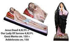 Mad. Addolorata + Gesù Morto - Our Lady of Sorrow + Jesus Dead Statue cm.150