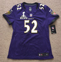 BALTIMORE RAVENS RAY LEWIS Jersey Nike Women's Size Small. RARE SUPER BOWL PATCH