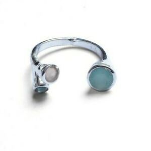 Open Band Apatite Aqua and Pink Chalcedony 925 Sterling Silver Ring BJM089