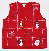 UGLY CHRISTMAS SWEATER VEST Women XL Red Acrylic Button Patchwork Santa
