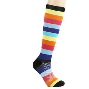 Lady Stockings Knee Socks Cotton Fashion Adult Sweat Casual Rainbow Stripes YD