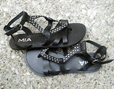 WOMENS MIA GLADIATOR BLACK LEATHER SANDALS SIZE 8 M MADE IN BRAZIL