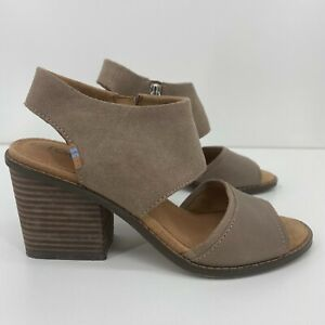 Toms Wedge Heels Women's Size 6 Gray Leather Suede Strappy Side Zip
