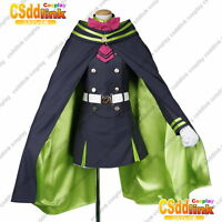 Seraph of the End Shinoa Hiragi cosplay costume uniform navy blue with cape