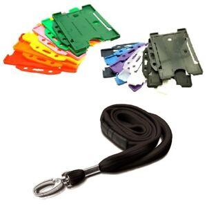 Black Safety Breakaway Lanyard Neck Strap & Landscape ID Card Holder  FREE POST