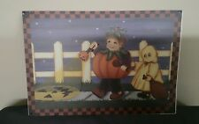 "Halloween Trick or Treater Tin Sign 8""x5.5"" Ghost+ Pumpkin 1995 by T.H.T.  ~New~"
