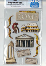 Paper House ROME (9) 3-D CHIPBOARD Stickers scrapbooking TRAVEL VACATION