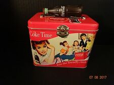 Coca-Cola Collectors Metal Tin Lunch Box W/ Coke Bottle Handle