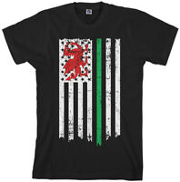 Wales Welsh American Flag Men's T-Shirt United Kingdom US Pride