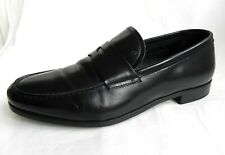 GIORGIO ARMANI Mens Black Patent Leather Sleep on Shoes Loafers UK 6