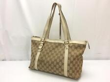 Auth Gucci GG Pattern Cotton Canvas Shoulder Tote Bag 8J250090m