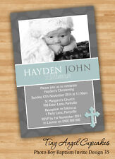 Personalised Baby Boy Baptism/Christening/Naming Day Invitation You Print File