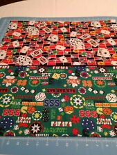 Cotton Gambling Casino Fabric Fat Quarter Lot Of 2 dice cards poker slots bundle