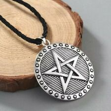 Round Pentagram Shield Style Pendant Necklace wtih Chain Wiccan Wicca Star