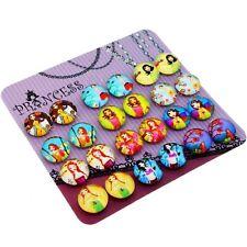 Lovely Girl Glass Dome Magnetic Clip-on Earrings for Teen Girls Kids Women Gift
