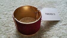 FOREVER 21 Velvet Bangle Bracelet  Cuff Burganty Wine Red Gold Tone Hinge