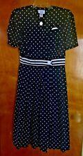 Vintage Pery Day Dress Navy & White Polka Dot Cotton 1950s