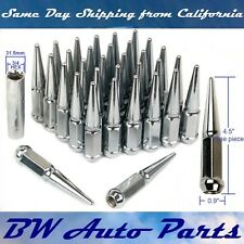 "32 PCs 9/16""-18 SPIKE CHROME SOLID STEEL LUG NUTS 4.5 INCHES TALL WITH KEY"