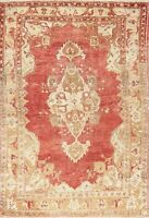Geometric Oushak Turkish Oriental Rug Hand-Knotted Traditional Ushak Carpet 5x6