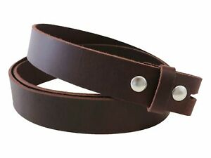 Matte Burgundy West Tan Buffalo Leather Belt Blank With Snaps & Keeper