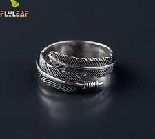 Flyleaf Adjustable .925 Sterling Silver Leaf Feather Ring Size 5 to 6