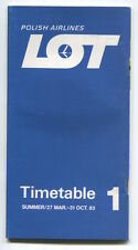 LOT POLISH AIRLINES SUMMER TIMETABLE MARCH - OCTOBER 1983 POLAND