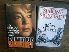 Lot de 2 livres de Simone Signoret Adieu Volodia La nostalgie n'est plus ce