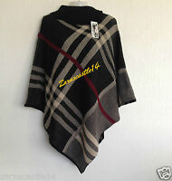 NEW LADIES WOMEN'S CHECKED PRINT PONCHO KNITTED CARDIGAN JUMPER TOP SIZE 8-18