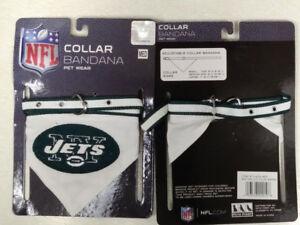 N.Y. JETS Adjustable Collar BANDANNA Pet Wear Dog New NFL Medium GOOD DOG!!!