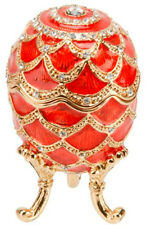 EGG TREASURED TRINKET OPENING BOX, DECORATED RED ENAMEL WITH SPARKLING CRYSTALS