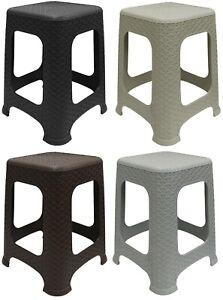 Large Plastic Rattan Stool Indoor Outdoor Home Garden Stackable Chair Foot Step