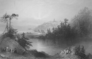 CANADA View of St. John from Lily Lake - 1842 Engraving Print by BARTLETT