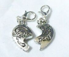 Clip on Charm - Pair - Mother & Daughter Heart - Great Gift