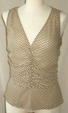 NEW YORK & COMPANY V-NECK SLEEVELESS BLOUSE SIDE ZIP MULTI COLOR RUCHED TOP 10