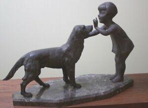 Rare Antique, signed P. Sega sculpture Young Girl Training Labrador Retriever