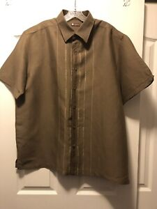 Centro Linen Short Sleeve Shirt Brown Sz XL Mens