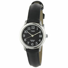 Timex T2N525, Women's Black Leather Easy Reader Watch, Indiglo, Date