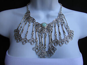 WOMEN METAL PLATES SILVER STATEMENT MOROCCAN ETHNIC FASHION NECKLACE HANDMADE