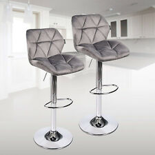 Set of 2 Velvet Bar Stools Counter Height Dining Chairs Kitchen Desk Pub Gray
