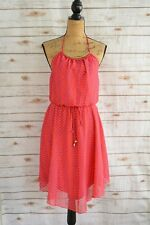 City Studio: Pink PURPLE halter GOLD accent polyester sundress, size M