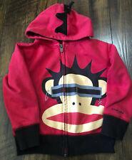 Small Paul Frank Monkey Red Zip-Up Jacket Hoodie Coat Toddler Boys 3T