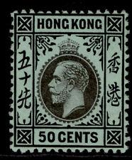HONG KONG GVI SG111, 50c black/blue-green, M MINT. Cat £29.