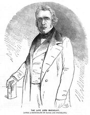 Lord Thomas Babington MacAulay British Politician & Writer - Antique Print 1860