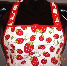 OS~Woman~Strawberry Print Full Bib Kitchen APRON~Halter~Rockabilly~Retro~Baking