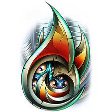 """Laser"" Temporary Tattoo, Tribal Biohazard Bio-Mech Eyes, Shiny Laser Foil"