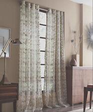 """JQueen New York 1 Sheer Grommet Window Curtain Panel Natural Brown Leaves 50x84"""""""