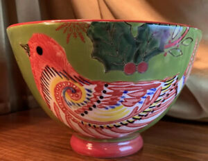 Creative Co-Op Red Bird  Holly  Snowflakes Bowl