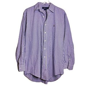 Ralph Lauren Yarmouth Button Down Shirt Size 16 1/2 - 34 Mens Blue White Stripe