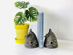 Creative Co-op Cast Iron Beehive Bookends Vintage Style Bee Book Ends, Set 2